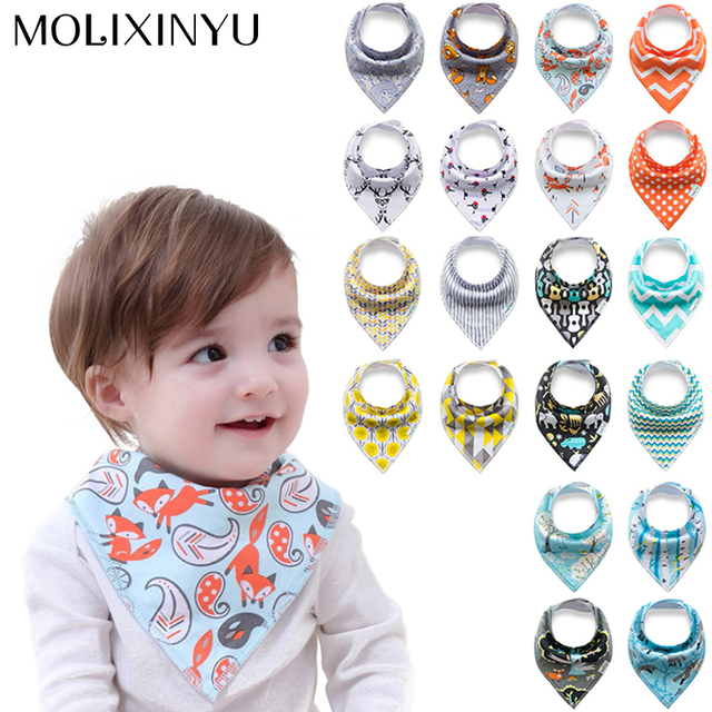 MOLIXINYU 4pcs/lot New Baby Bibs For Boy&Girl Burp Cloths Bandana Bibs Baby Bandana Infant Waterproof Bib Bandanas Dropshipping