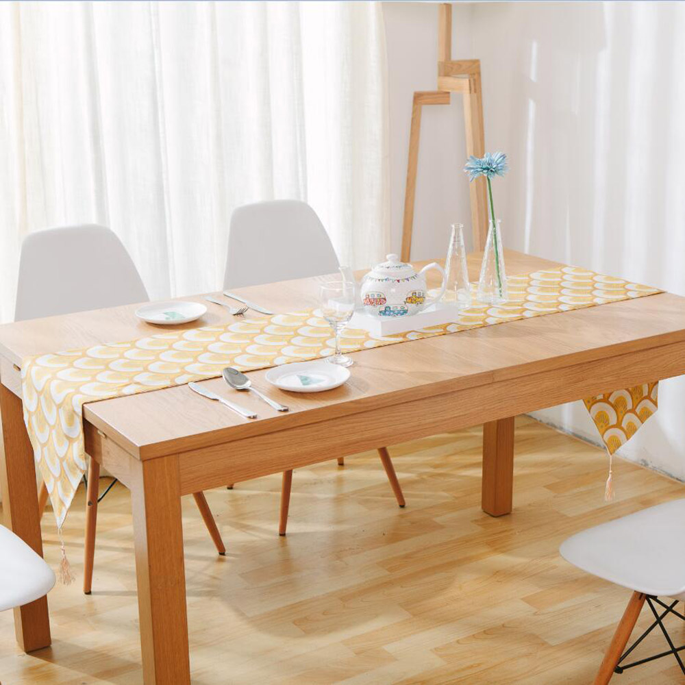Modern Fashionable Gold Endless Printed Linen Table Runners American Country  Style Table Runner With Tassel Multi Size In Table Runners From Home U0026  Garden ...