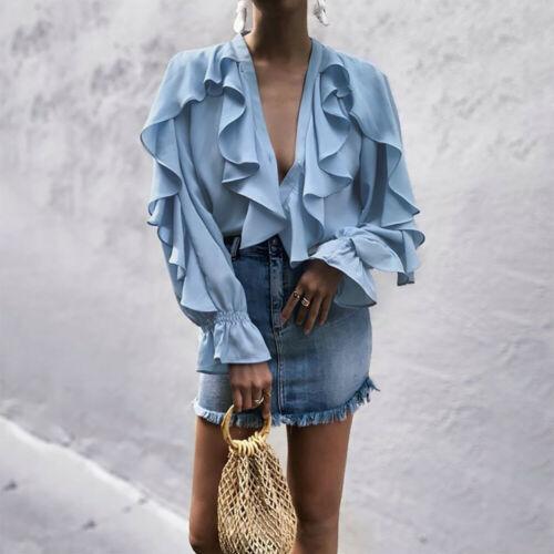 OL Ladies V Neck Chiffon Ruffle Blouse  Pure Long Sleeve Blouse Casual  Ladies Elegant Shirts
