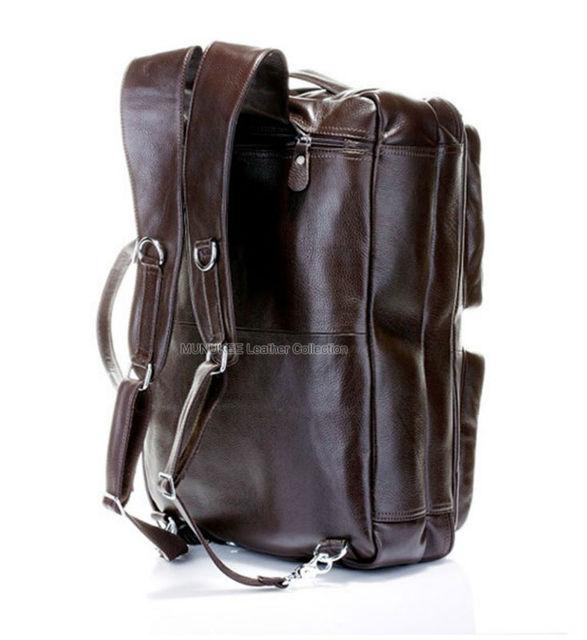 Fashion Multi-Function Full Grain Genuine Leather Travel Bag Men's Leather Luggage Travel Bag Duffle Bag Large Tote Weekend Bag
