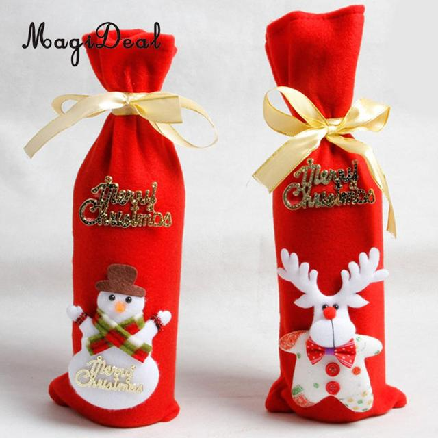 Christmas Fabric Gift Bags Wine Bottle Cove Santa Claus Bear Snowman Design Xmas Holiday Gift Packaging & Christmas Fabric Gift Bags Wine Bottle Cove Santa Claus Bear Snowman ...