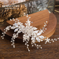 Himstory Elegance White Leaf Pearls Flower Bridal Hairpins Hairclips Handmade Wedding Hair Accessories Women Jewelry Headwear