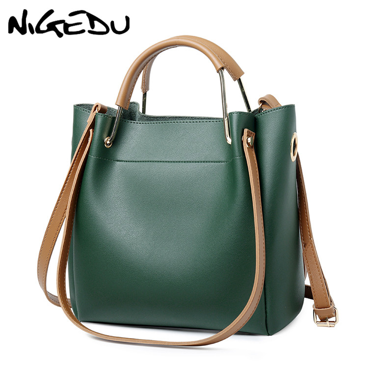 NIGEDU Brand Design Women Leather Handbag Large Capacity Woman Casual Tote Bag Lady Messenger Shoulder Bag Big Totes Bolsa Black