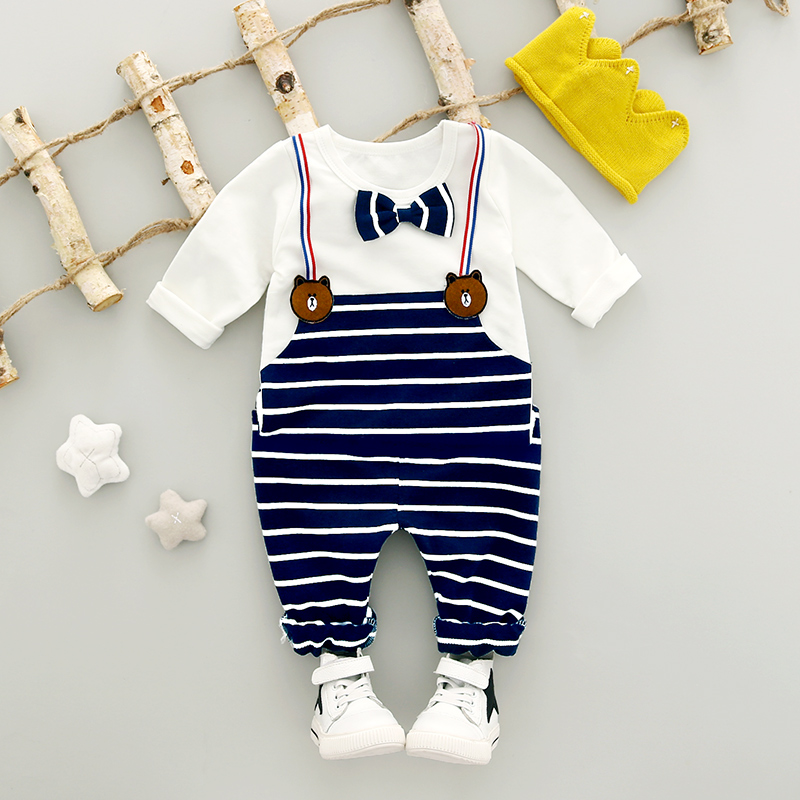 Baby Boy Clothes Set 2018 New Fashion Autumn 1-3 year 2018 Cotton O-Neck Strip Overalls Infant Children Clothing Sets A265