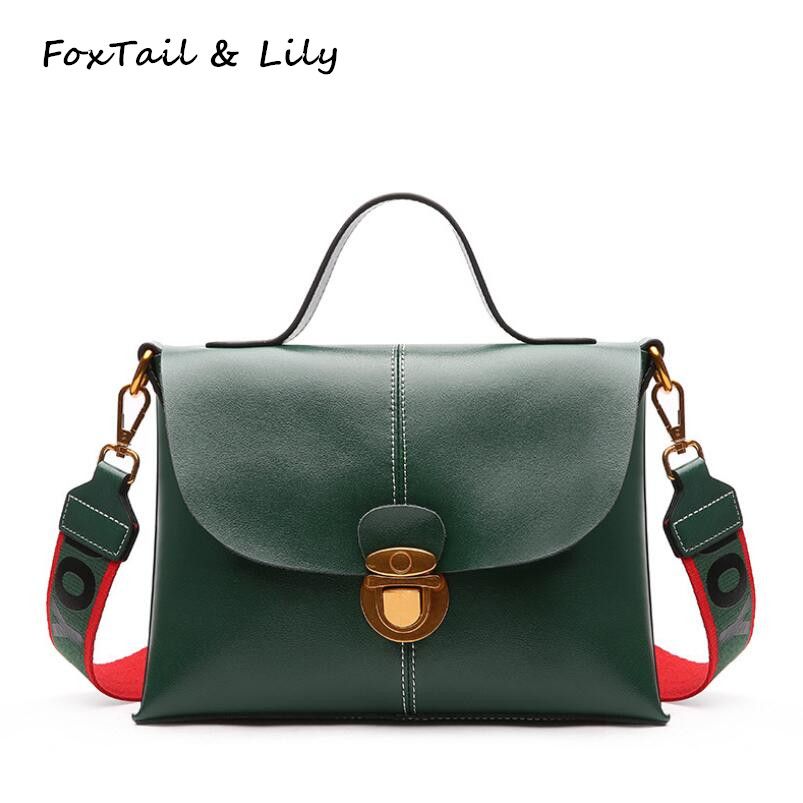 FoxTail & Lily Wide Strap Women Genuine Leather Shoulder Bag Elegant Messenger Bag Female Famous Designer Handbags High Quality