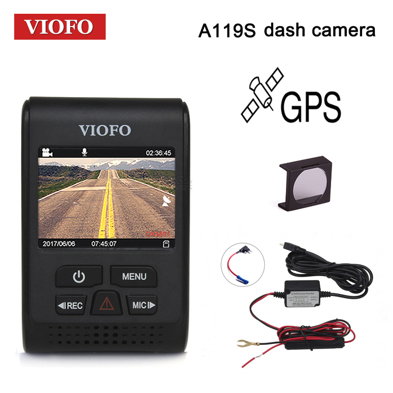 VIOFO Car DVRs A119S Upgraded V2 2.0 Super Capacitor Dashcam NT 96660 HD 1080P GPS Car Dash Camera CPL Hardwire Cable Fuse DVR