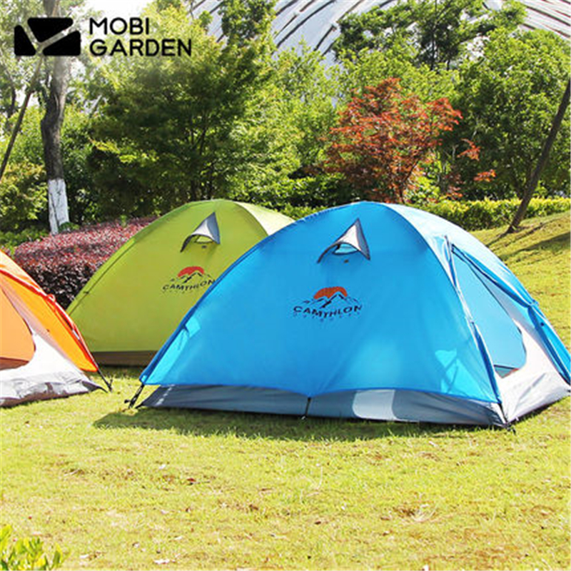 MOBI GARDEN High-quality Camping tent 1-2 Persons Double layer Double open door Ultralight tent 190T Waterproof Tourist tent mobi outdoor camping equipment hiking waterproof tents high quality wigwam double layer big camping tent