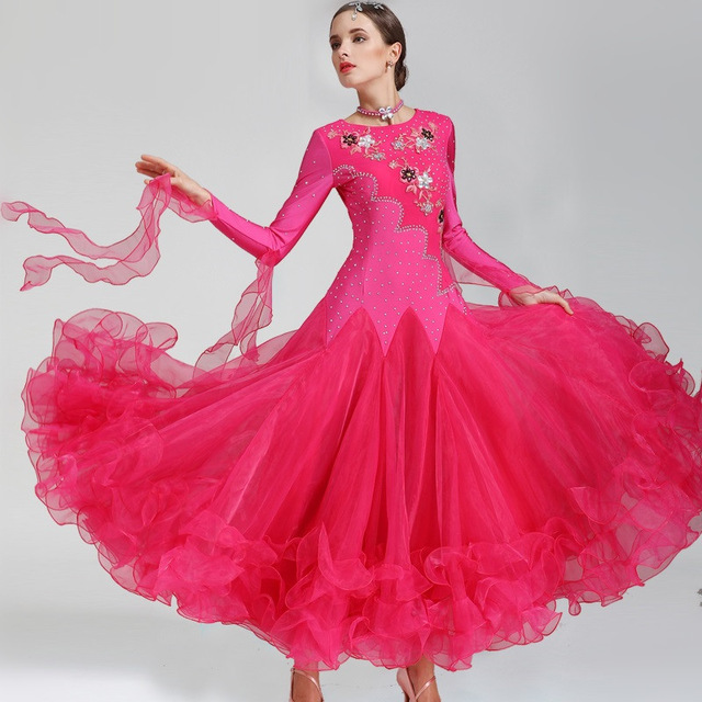 Red Ballroom Dress for Women Ballroom Competition Dresses Long Ballroom Dance Wear Dress Standard Rhinestone Dance Costumes