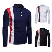 splicing long-sleeved big yards han edition cultivate morality men's collar shirt collar POLO unlined upper garment