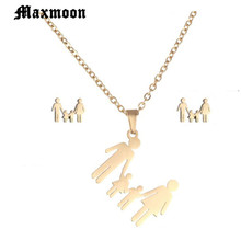 Maxmoon ather Mother Kids Family Necklace Set Son Daughter H