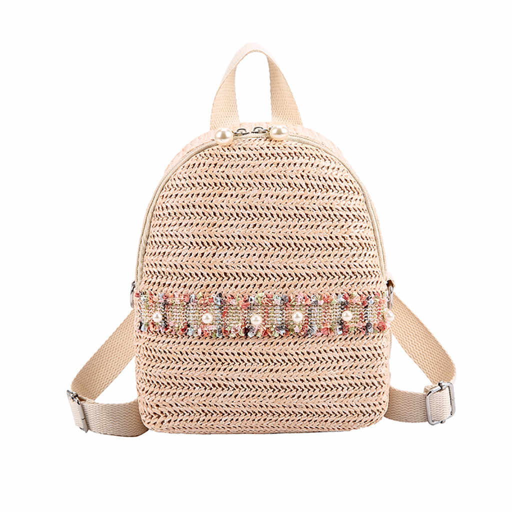 OCARDIAN Backpack Summer Women Girl Color Matching Wild New Fashion Straw Leisure Travel Bag Student Bag Backpack  May13