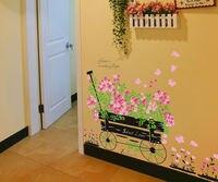 حلوة الحب نمط زهرة سلة ملصقات الحائط للأطفال غرف ديكور المنزل diy خلفيات الفن الشارات الديكور CT274