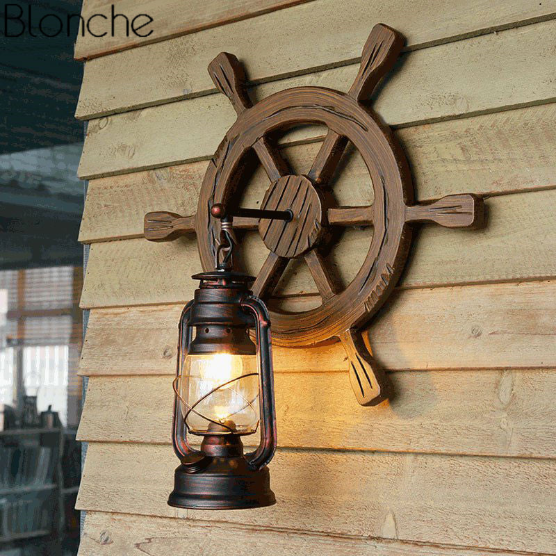 Vintage Iron Wood Wall Lamp Loft Industrial Decor Sconce Antique Wall Light for Dinning Room Bedroom Retro Indoor Home Lighting