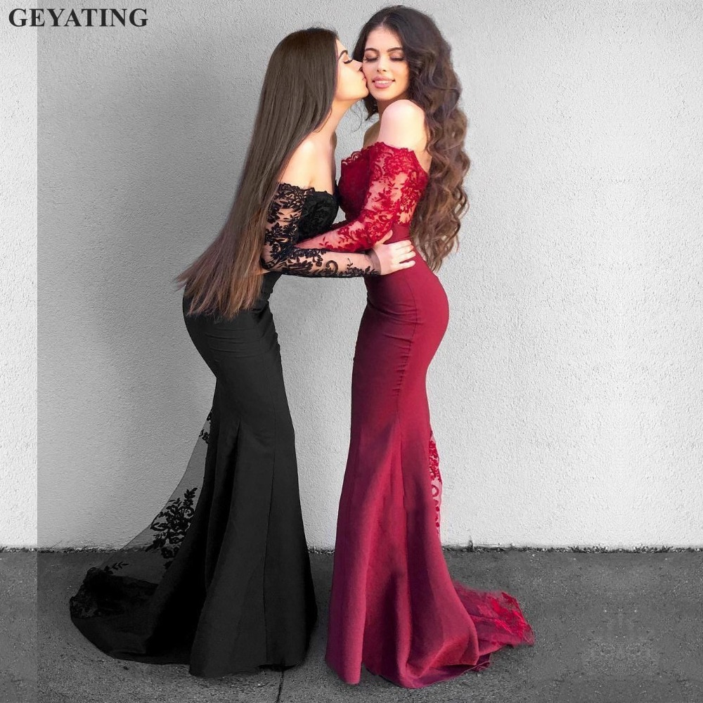 Elegant Burgundy Lace Mermaid   Prom     Dresses   Long Sleeves 2019 Black Off the Shoulder Appliques Long Arabic Evening Party Gowns