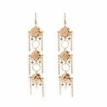 rose flower crystal tassel dangle drop earrings jewelry earrings trendy statement earrings for women pendientes borla