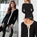 2017 nuevas mujeres clothing camisetas blanco y negro patchwork manga larga camisetas mujeres top manga completa mujer tops