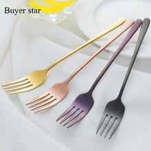 Hot 2PCS/1 Lot  Korea Stainless Steel Dinner Fork Mirror Polish Long Handle Fork For Dessert Salad Colourful Tableware