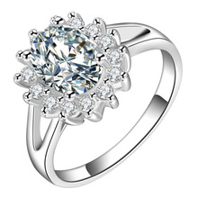 Noble Luxury Elegant Charm Zircon Crystal Round Rings New Design Silver Plated Fashion Ring RING-0354