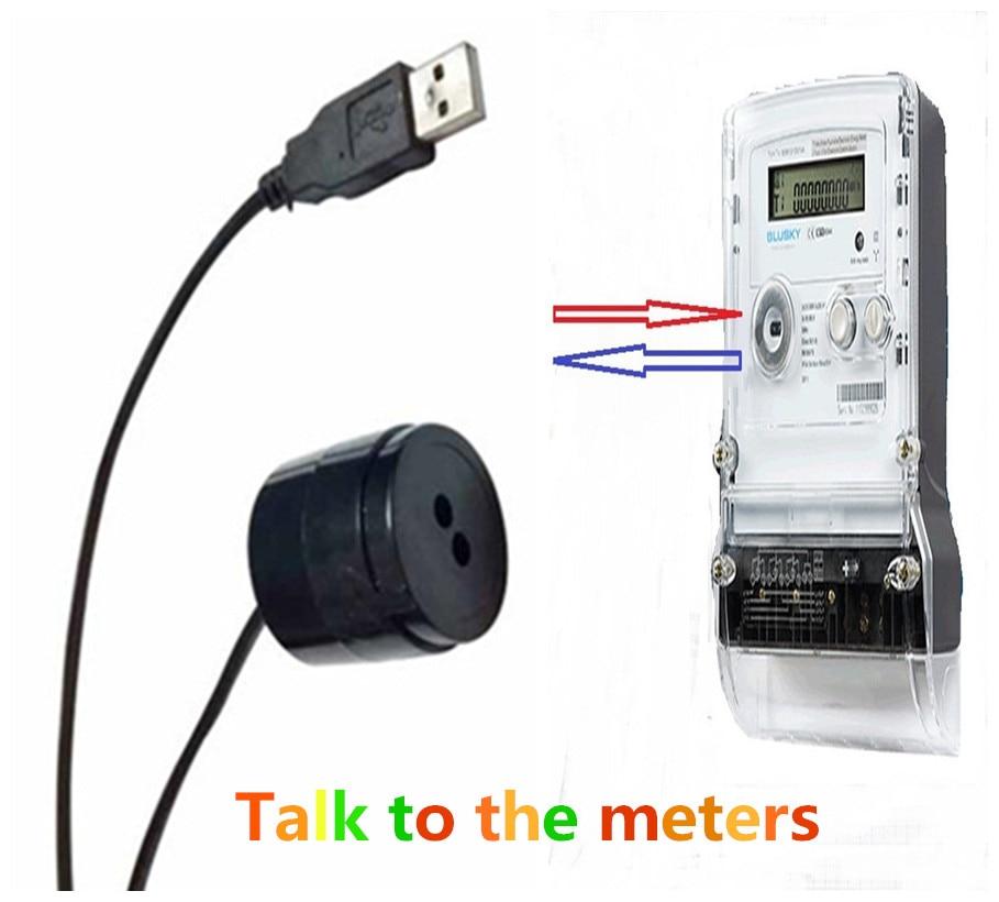 imágenes para IEC1107 estándar puerto usb negro color smartmeters de la IR sensor de cable de la cabeza de lectura óptica
