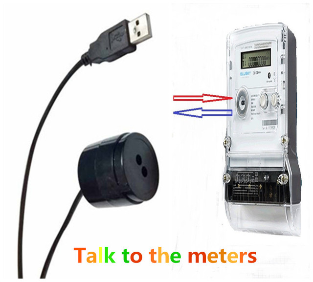 IEC1107 standard black color usb port smartmeters IR optical reading head sensor cable