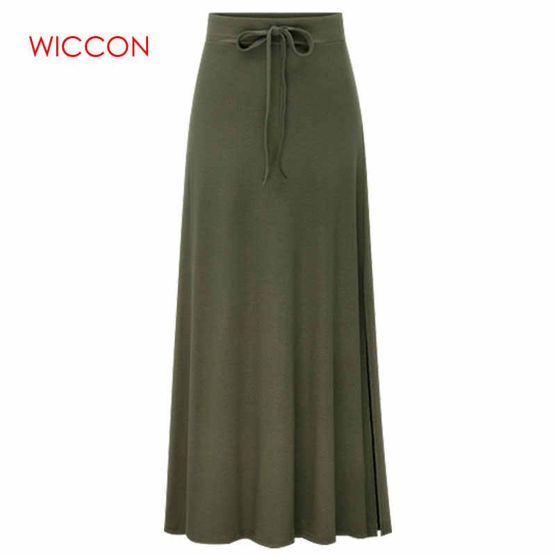 Faldas de talla grande tejidas 3Xl 4Xl 5Xl primavera otoño ejército encaje verde arriba cintura elástica sensual cadera ajustada talla grande faldas largas informales