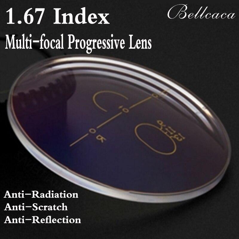 1.67 Indice Asferico Ottico Multi-Focal Progressive Lenti Graduate Occhiali Lenti Miopia Anti-Radiazioni Riflessione 2 PZ BC010