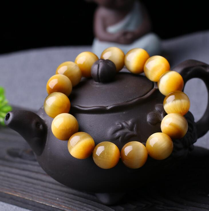 Natural Red yellow Tiger's eye catenary refill Gem Stone Lucky Stretch Elastic Bracelet Fashion Jewelry 8aaaaaaaa natural stone gold obsidian cat s eye round beads stretch bracelet jewelry with lucky evil brave troops for men women