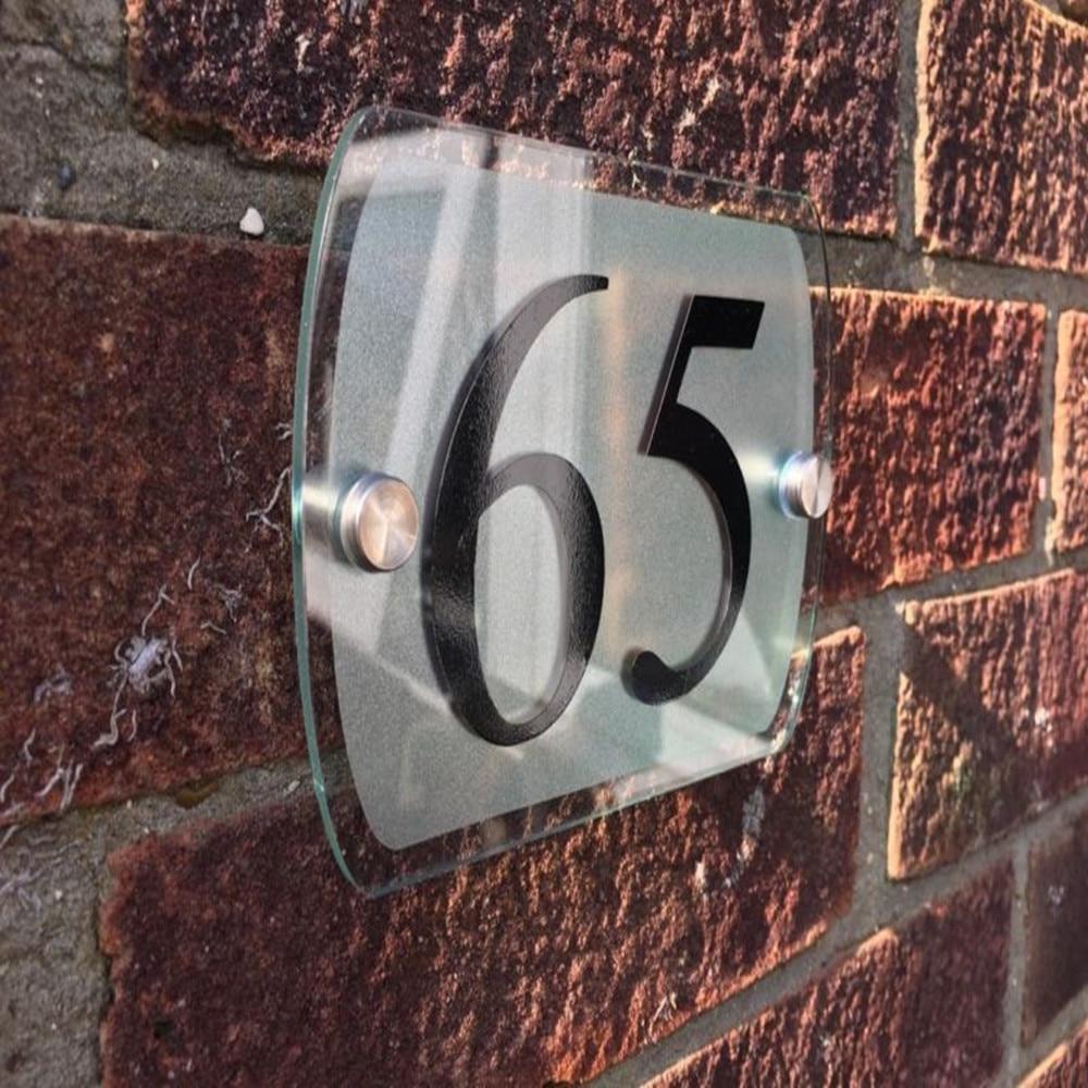 Moderne maison signe plaque porte numéro rue verre effet acrylique argent nom