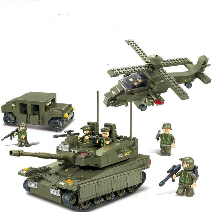 Sluban Military Series Army Heavy Tank Helicopters Hummer Air Defense Building Blocks Bricks Sets toys Compatible With Legoe kazi large military 1463pcs 2in1 tank hummer building blocks bricks army war models toys for boys children compatible lepin