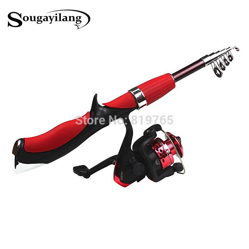 Sougayilang varilla De fibra De carbono superduro Barco De hielo mosca caña De pescar De alta calidad con carrete De pesca Pesca conjunto De pesca