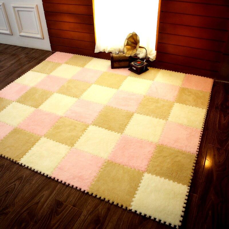 1pcs 30*30cm Eva Plush Puzzle Mats Foam Shaggy Velvet Carpet Decorative Kids Room For Crawling Play Toys 8-colors(sample Try)