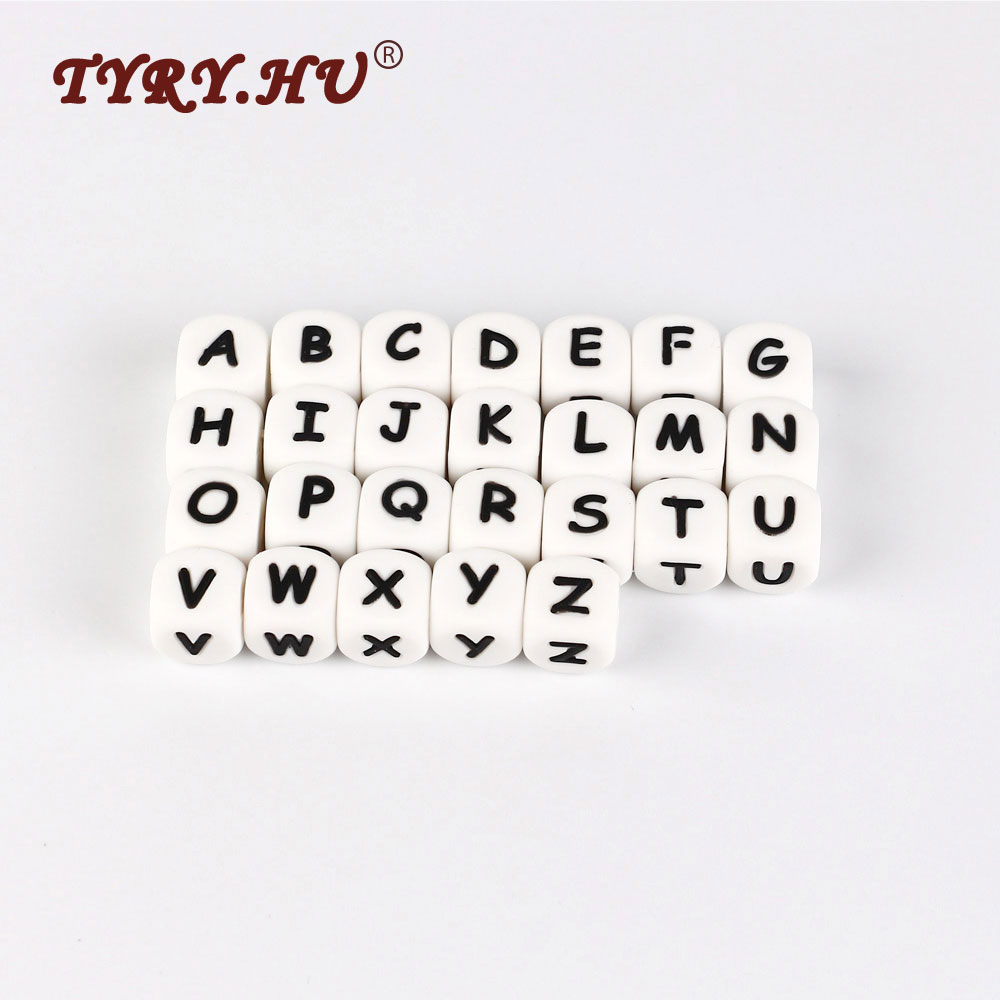 Tyry hu 50pcs letras teether bead bpa free 12mm silicone letter beads for jewelry making baby