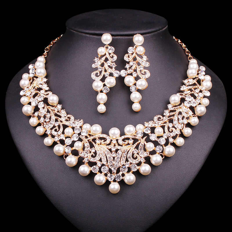 Gold Color Imitation Pearl Wedding Necklace Earrings Sets African Beads Bridal Jewelry Sets Party Costume Accessories for Women