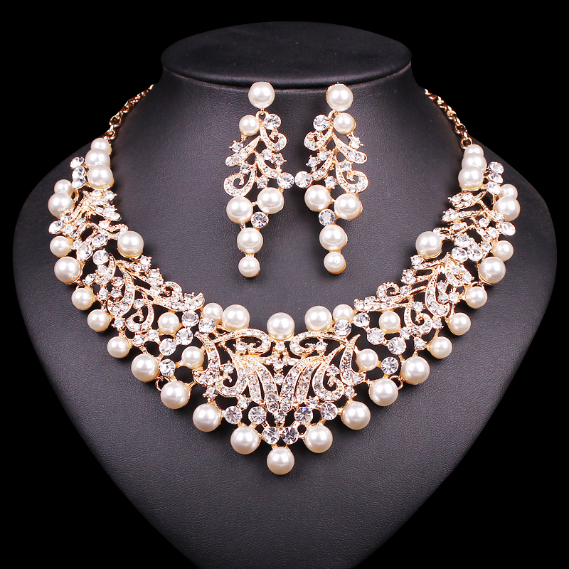Artificial Jewellery Sets For Wedding: Gold Color Imitation Pearl Wedding Necklace Earrings Sets