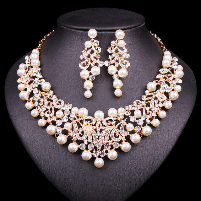 Gold Color Imitation Pearl Wedding Necklace Earrings Sets African Beads Bridal Jewelry Party Costume Accessories