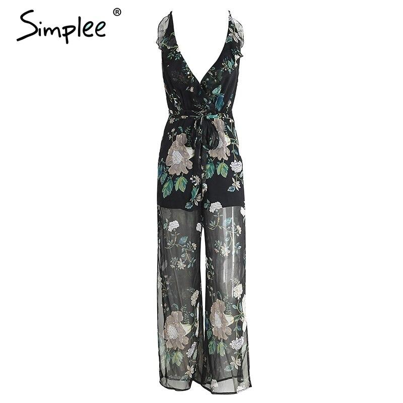 Enkelt sexigt V-halsduk blommatröm jumpsuit romper - Damkläder - Foto 6