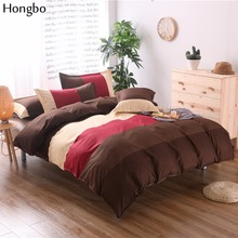 Hongbo Stripe Flower Printing Duvet Cover Set Bed Twin Double Queen Size Bedclothes Bedding Sets (No Sheet No Filling)