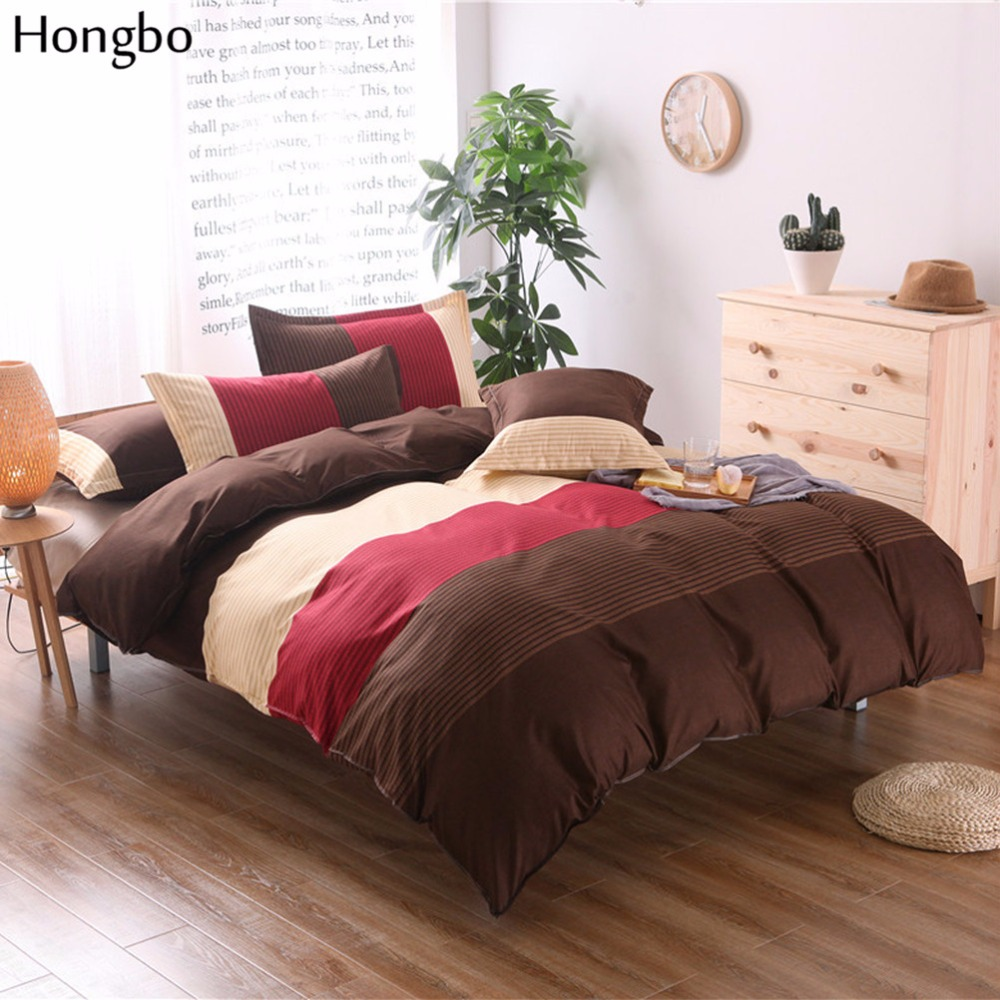 Hongbo Stripe Flower Printing Duvet Cover Set Bed Set Twin Double Queen Size Bed Bedclothes Bedding Sets (No Sheet No Filling)