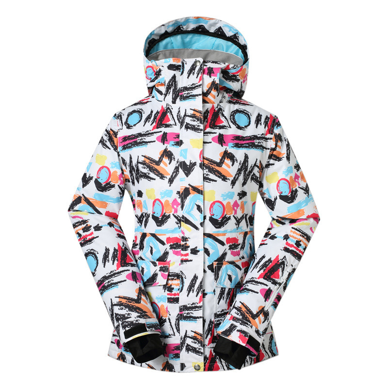 GSOU SNOW graffiti, women's ski suits, outdoor waterproof, windproof, warm, single and double skis, 1407 free shipping the new 2017 gsou snow ski suit man windproof and waterproof breathable double plate warm winter ski clothes