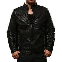 2017 Для мужчин итальянский Кожаные куртки черный воротник Slim Fit человек зимние кожаные мотоциклетные Пальто и пуховики фабрики Бесплатная доставка