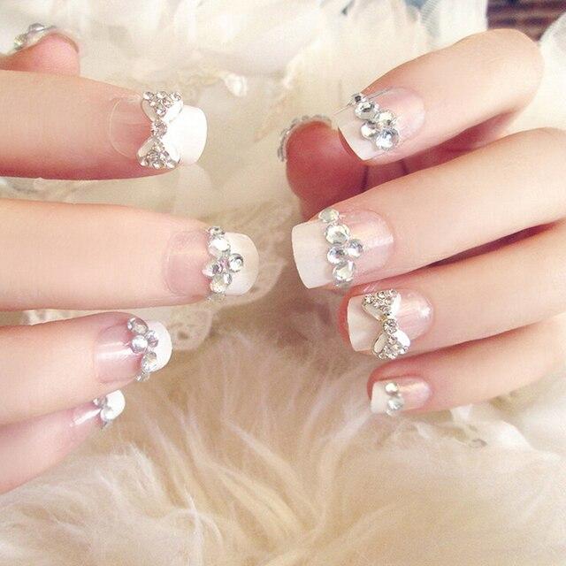 24pcs New Artificial Bride False Nails French Tips Fake Wedding Art Nail Bowknot Rhinestone