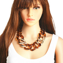 Ufavoirte Statement Necklace Chain Choker Resin Necklace Big Leopard Chain Necklace Fashion Exaggeration Jewelry Bar Women retro women s exaggeration mixing crystal ball necklace pearl turquoises short clavicle chain statement choker necklace jewelry