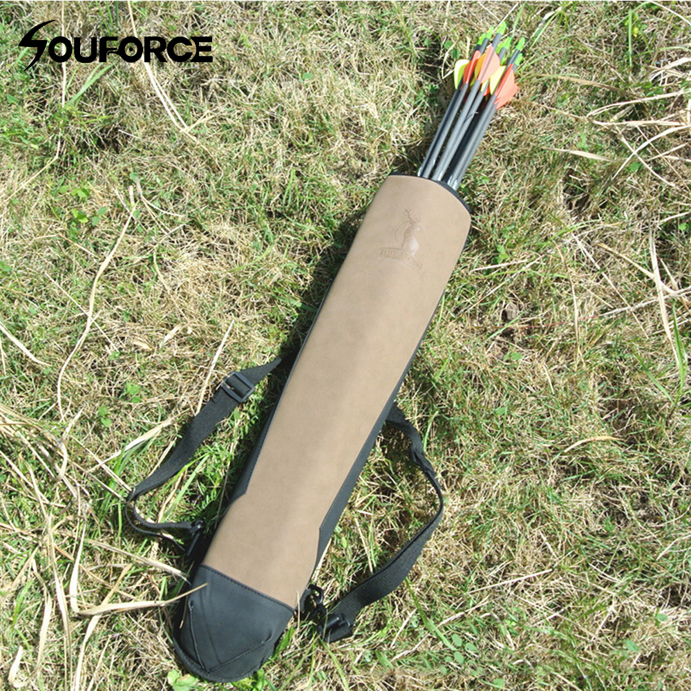 Pure Leather Arrow Bag 58x13cm Super Fiber Arrow Quiver to Hold Arrows for Outdoor Archery Bow Hunting Shooting dmar archery quiver recurve bow bag arrow holder black high class portable hunting achery accessories