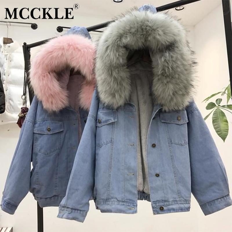 MCCKLE/для женщин зимние плотные джинсы куртка искусственный мех воротник флис с капюшоном джинсовое пальто женский Мягкий теплая Джинсовая В...