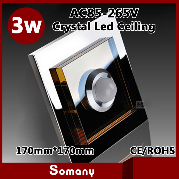 ФОТО 4pcs 17cm*17cm Kitchen Mounted / Recessed Spot Furniture Light 5730SMD Stainless Steel Modern Crystal Square 3W Led Ceiling Lamp