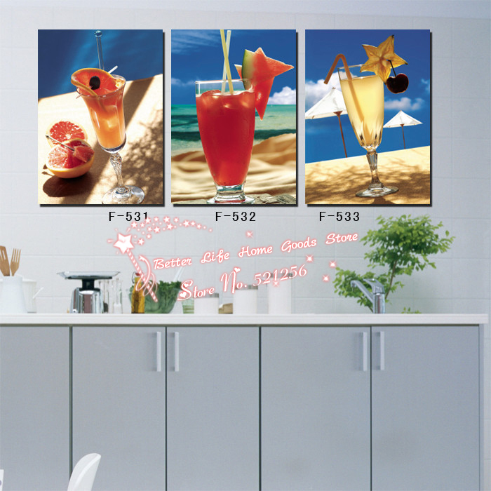 Modern Wall Art Home Decoration Printed Oil Painting Pictures No Frame 3 Panel Cool Drink Fruits and Juice Kitchen Wall Decor