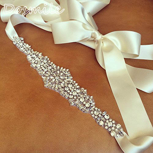 Vintage bride Rhinestones Belt Crystal appliques Wedding Crystal Ornament ivory/white ribbon waist belt for evening dress