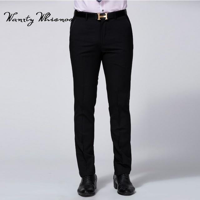 Для мужчин черный Брюки модные роскошные социальных Брюки Для мужчин классический деловой Блейзер Мотобрюки Для Мужчин Платье Брюки размер 40