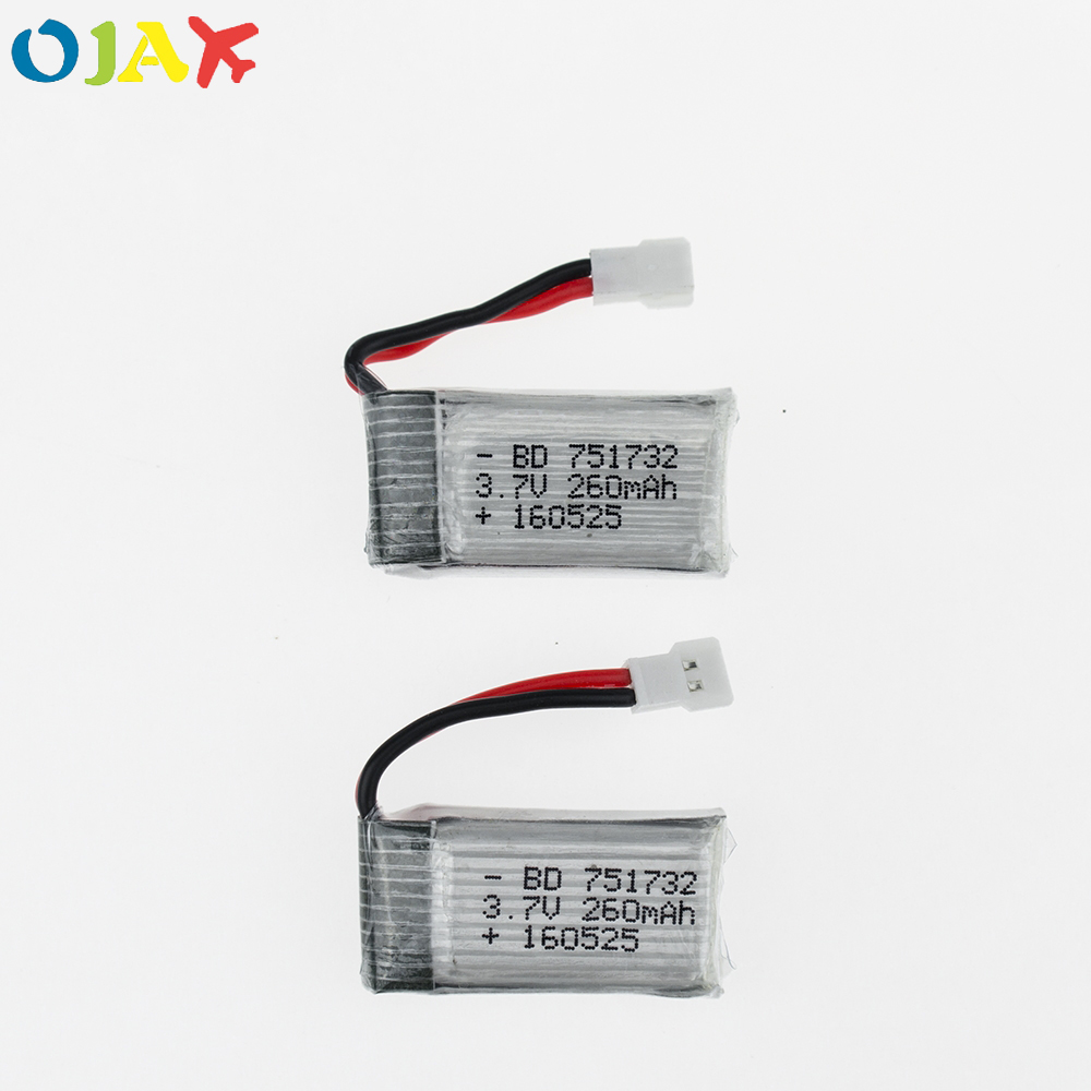 2pcs 3.7V 260mAh Drone Li-polymer Battery 751732 For RC JJRC H8 Mini Eachine H8 JJRC H22 RC Quadcopter Parts mini drone rc helicopter quadrocopter headless model drons remote control toys for kids dron copter vs jjrc h36 rc drone hobbies