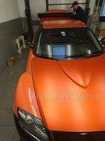 1.52x20 м/roll хром матовый оранжевый виниловая пленка Ice виниловые наклейки автомобиля Chrome матовый винил автомобиль обернуть С Пузырьков